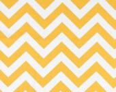 Pair (2 panels) designer drapes, ZigZag chevron slub cotton yellow white