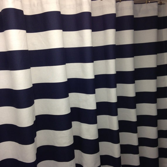 navy blue and white shower curtain 3 wide horizontal curtain cotton