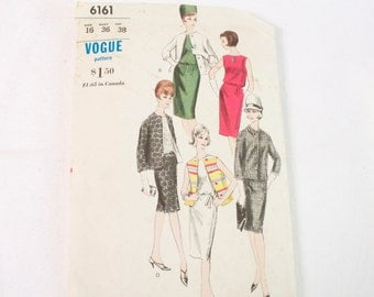 Vintage 1960s Vogue Pattern 6161 One Piece Dress and Jacket size 16