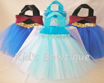 6 Party Favor Tutu Bags - Add to your Frozen Anna or Elsa Theme Birthday Party - princess gift bags