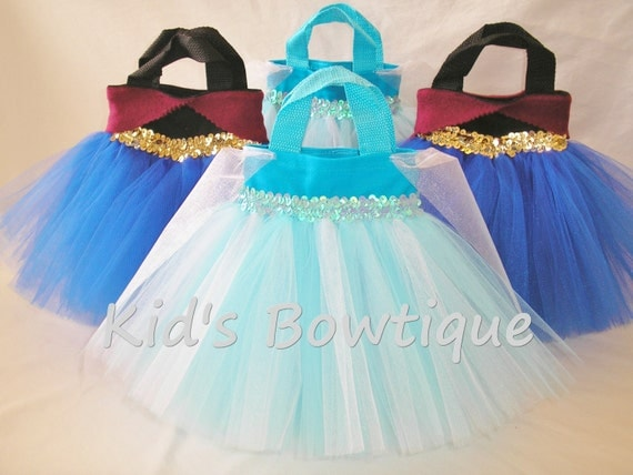 6 Disney Frozen Anna or Elsa Inspired Party Favor Tutu Bags - Frozen Theme Birthday Bags