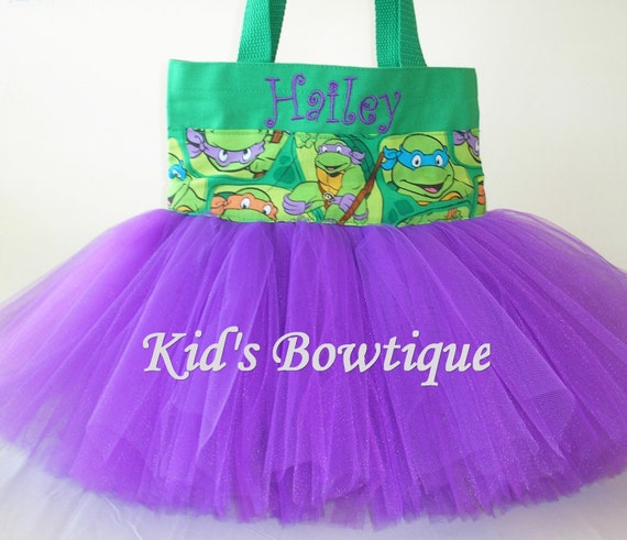 Halloween Tutu Bag for a Purple TMNT- Personalized Turtle Halloween Trick or Treat Bag