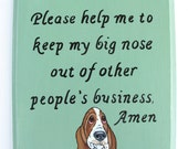 Basset Hound Sign, Oh Lord... in Sage Green