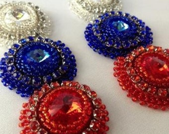 Red White and Blue Patriotic Earrings - Made To Order
