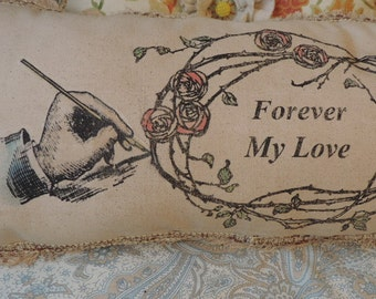 Lumbar Pillow, Decorative Pillow, Art Pillow, Wedding Gift, Valentines Gift, Loves me loves me not  Message Pillow, Shabby Cottage Style