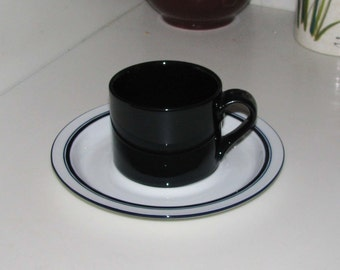 Four Dansk deep blue Bistro cups with saucers
