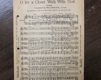 Oh For A Closer Walk 1920's William Hancock Church Sheet Music