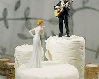 Love Serenade Guitar Playing Groom sold separtely or Bride blowing Kisses Wedding Cake Toppers Romantic Porcelain Mix or Match Figurines
