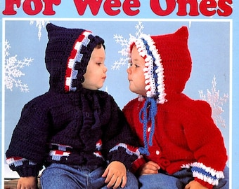 Warm-Up for Wee Ones Crocheted Infant Hooded Sweater Cardigan Pullover Sizes Baby 6 12 18 24 Months Patterns Craft Leaflet Leisure Arts 2763