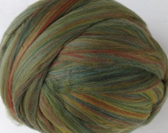 Merino Wool Roving for Spinning and Felting, Wool Roving, Felting Wool, Ashland Bay Roving  - Sage Multi-color - 8 oz