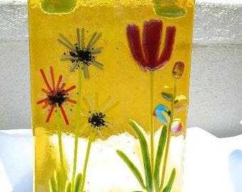 Glass Garden Sun-Catcher, Tulip, Snapdragon and Bachelor Buttons in a Golden Sun Yellow Background