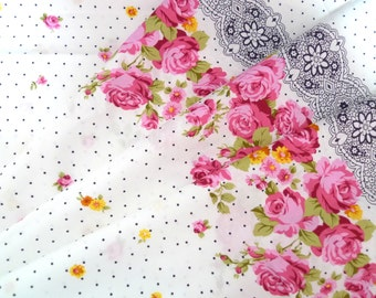 Japanese fabric, Lolita fabric, Victorian fabric, Roses fabric, Retro fabric, Cotton fabric, Vintage style fabric,  1 yard FB084