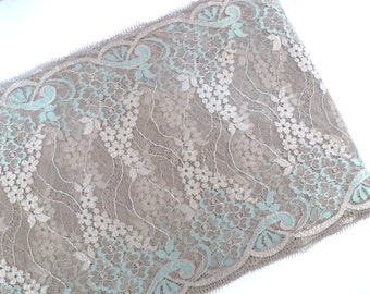 Embroidered lace, Swiss lace, Eyelash lace,  Gray lace, High quality lace, Bridal lace, DIY craft, 1 1/2 yards GY023