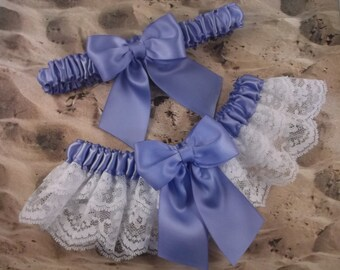 Iris Purple Lavender Satin White Double Lace Wedding Garter Set Toss