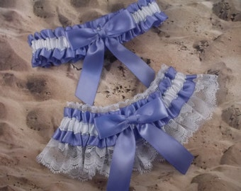 Iris Purple Lavender Satin White Lace Wedding Garter Set Toss