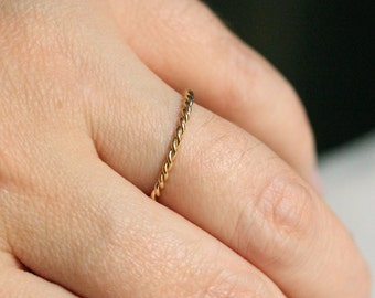 14k Mira Wedding Band - Nautical Twist Rope 14k Gold Band Ring - Solid 14k White or Green or Rose or Yellow Gold Twisted Ring - Dainty