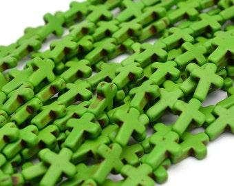 Green Howlite Cross Beads, 16 x 11mm, 25 Beads, Green Beads, Crosses -B241