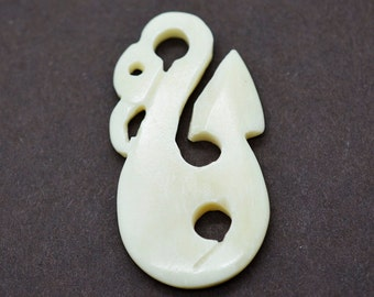 Carved Bone Pendant,  1 Pc,  Fish Hook Pendant,   42mm x 29mm,  Fish hook - P47