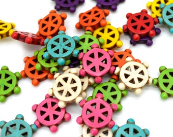Howlite   Beads,  Ships Wheel, Howlite Stone Beads,   Nautical Beads,   Mixed Color  24 pcs, 18mm, Beads For Jewelry making -B230