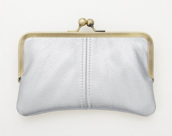 Silver Leather Kiss Lock Clutch, Gold Wedding Clutch, Platinum Bridal Clutch, Black Evening Clutch, Bridesmaid Gift, Retro Style Clutch