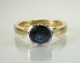 Sapphire and Diamond Ring - 18K Yellow Gold and Platinum - Appraisal Included