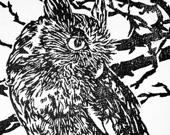 Screech Owl, hand pulled woodblock print, limited edtion