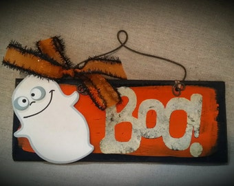 Ghost Boo wooden sign