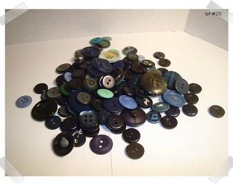 Buttons/Assorted Lot- Blue/ 2 & 4 Holes/ Shanks/ Craft Supplies/ (#20)**
