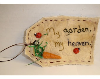 Tag Ornament/ Muslin Fabric/ Hand Embroidered **
