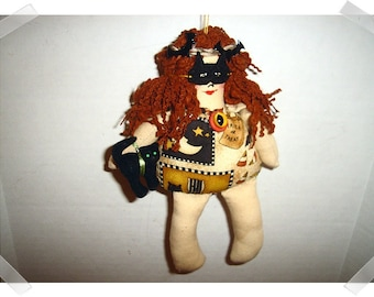 Halloween Doll Ornament/ Muslin Fabric & Printed Fabric /Handmade**