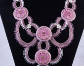 Bahay Gardens Necklace, Beadweaving Necklace, Lilac Flower Glass Buttons, OOAK