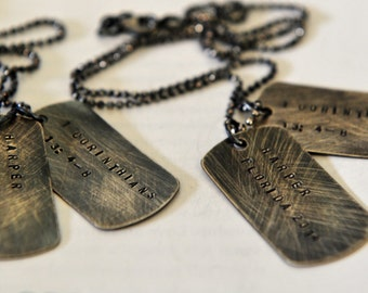 His and Hers Dog Tags, Unisex Necklaces,  Rustic Sterling Dog Tags, Wedding Day Bride And Groom, Personalized Dog Tags, Hand Stamped Names