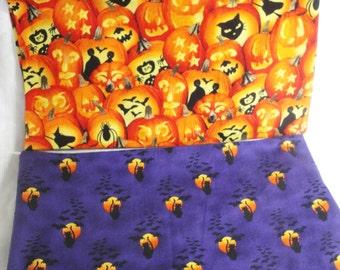 Jack o lantern orange Halloween fabric, purple, black cat material, CHOOSE ONE  1 yard plus,