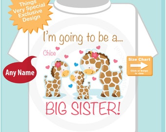 I'm Going to Be A Big Sister Shirt or Onesie, Personalized Big Sister Giraffe Shirt with three siblings older girl baby boy (09032014b)