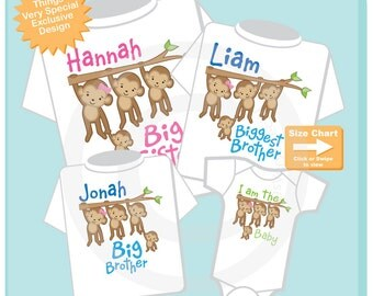 Set of Four Sibling Monkey Shirt and Onesie Set, Personalized Big Sister Shirt, Biggest Brother, Big Brother and Baby (09112014g)