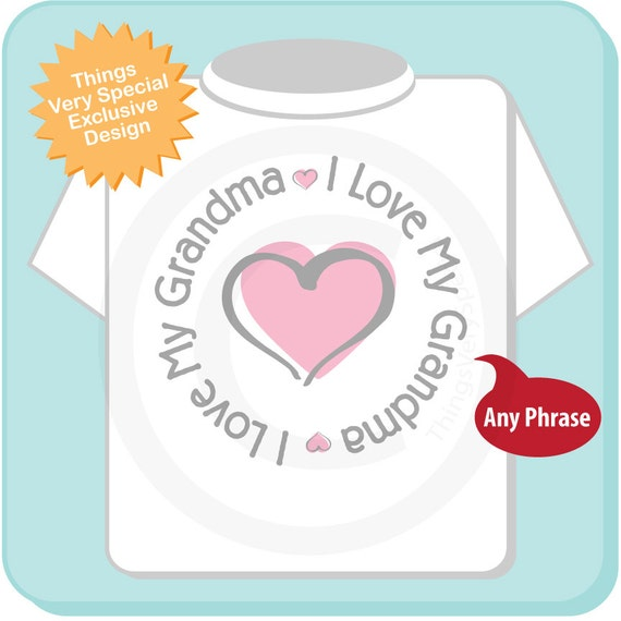 Personalized I Love My Grandma or Granny with Pink Heart Tee Shirt or Onesie (02272014a)