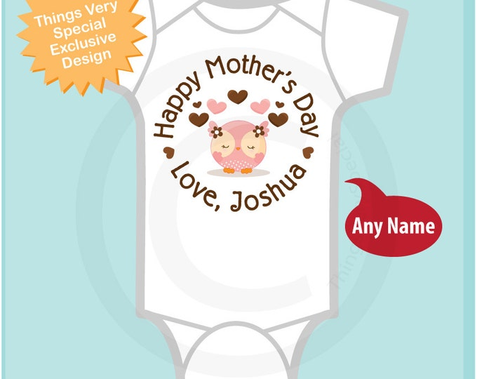 Happy Mother's Day Onesie,  Personalized Mothers Day Onesie or Tee shirt with cute Owl, New Mom Gift (04252014i)