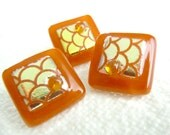 Fused Glass Buttons, Art Button, Dragon Scales, silver, brown, metallic, toffee, caramel, gold, amber, sewing button, knitting supplies