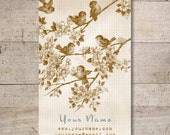 Business Cards - Custom Business Cards - Jewelry Cards - Earring Cards - Display Cards - Vintage Bird in Branch -  No. 41