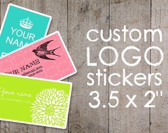 """Custom Stickers  Custom Labels  Product Labels  Return Address Labels  Wedding Stickers  Personalized Stickers - 3.5 X 2"""" - YOUR LOGO"""