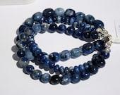 Multiple Strand-Blue Sodalite Gemstone Bracelet-3-Stranded Gemstone Bracelet-Navy Blue and White Bracelet-Sterling Slide Clasp-Peace-Harmony