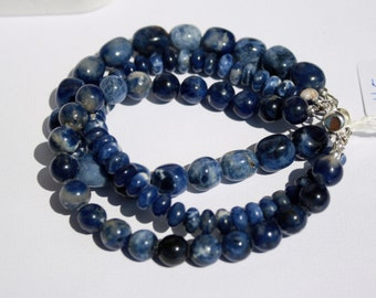 Multiple Strand-Blue Sodalite Gemstone Bracelet-3-Stranded Gemstone Bracelet-Navy Blue and White Bracelet-Sterling Slide Clasp-Peace-Harmony