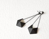 Geometric Black Silver Earrings, Dangle Silver Earrings, Geometric Drop Earrings, Chain Silver Earrings, Statement Dangle Earrings