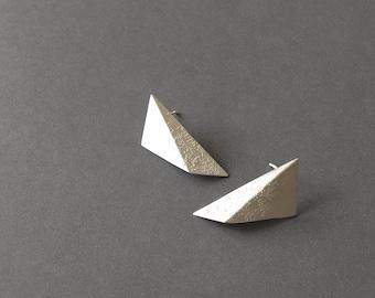 Oxidized Silver Geometric Earrings, Sterling Silver Triangle Earrings, Black Triangle Studs, Minimalist Black Earrings