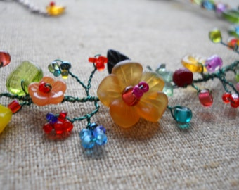 "Flower necklace, multi-colored, green ""vine""/beautiful/ bright/vibrant/stunningly eye-catching/adjustable length/original/unique lovely gift"