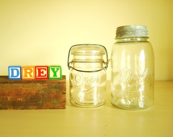 Drey Improved Ever Seal pint jar & Perfect Mason quart jar made by Ball, antique canning jars, 1920s collectible canning jar, wire bail jar