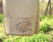 Leopard Frog pillowcase- hand stitched