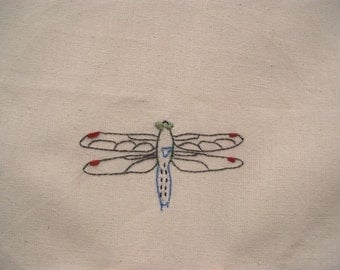 Dragonfly tea towel- hand stitched