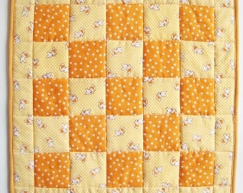 Quilted Easter Table Topper  Table Mat  Butterscotch Bunnies