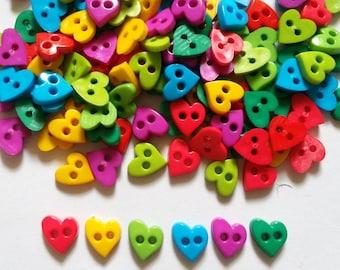 100 pcs Cute love heart button 9 mm 2 hole Mix Rainbow color